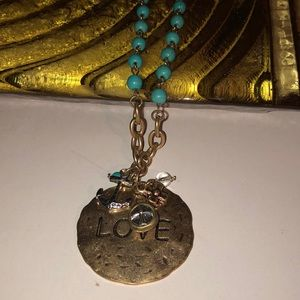 Love pendant with charms link turquoise necklace